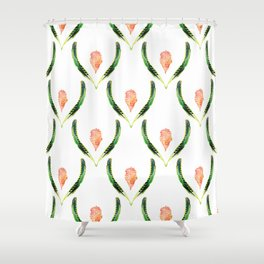 Heliconia Blossom White  #tropical Shower Curtain