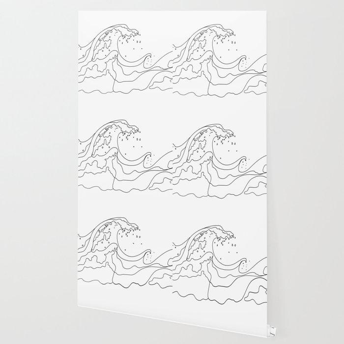 Minimal Line Art Ocean Waves Wallpaper