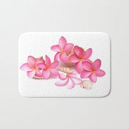 Frangipani blooms on sea shells Bath Mat