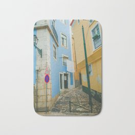 Colorful Blue and Yellow Wall in Lisboa Bath Mat