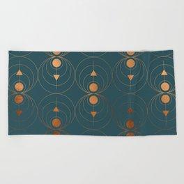 Copper Art Deco on Emerald Beach Towel