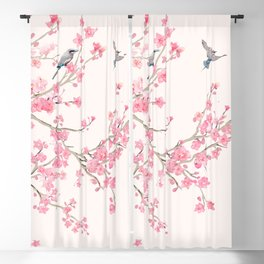 Birds and cherry blossoms Blackout Curtain