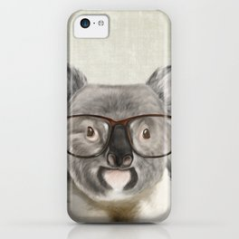 A baby koala with glasses on a rustic background iPhone Case