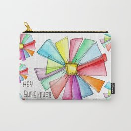 Hey Sunshine!! watercolor illustration flower pattern floral painting colorful typography positive Carry-All Pouch