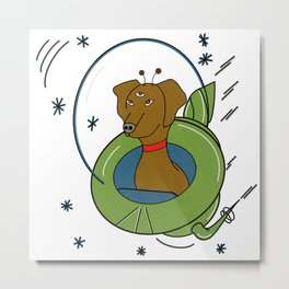 My Dog Is An Alien - Retro, Space Illustration  Metal Print