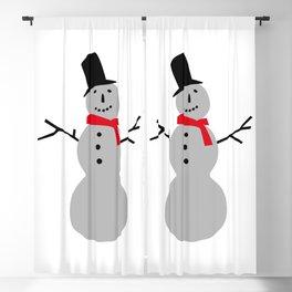 Christmas Snowman-White Blackout Curtain