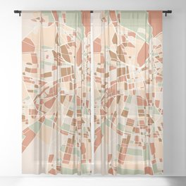 SANTIAGO DE CHILE CITY MAP EARTH TONES Sheer Curtain