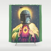 boba fett Shower Curtains featuring Boba Fett by Michelle Wenz