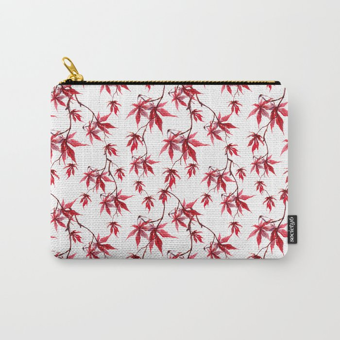 Watercolor Botanical Red Japanese Maple Leaves on Solid White Background Carry-All Pouch
