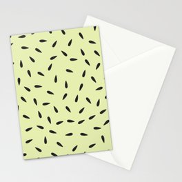 Watermelon Seeds on Pastel Yellow Background Stationery Cards
