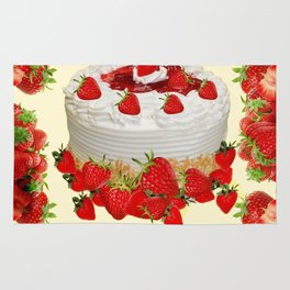 DELICIOUS STRAWBERRY  PARTY CAKE DESSERT Rug