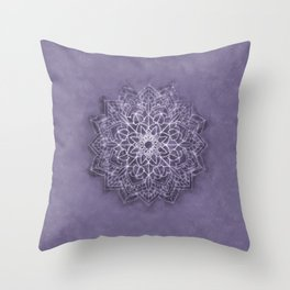 Vintage Lavender Watercolor Mandala Throw Pillow