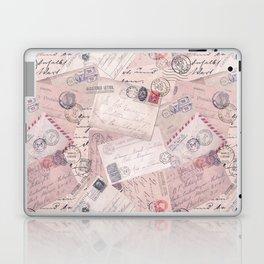 Nostalgic Letter and Postcard Collage Soft Pink Laptop & iPad Skin