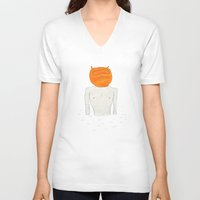 diver V-neck T-shirts featuring diver by Maybe Mary