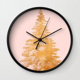 Christmas Tree Gold Wall Clock