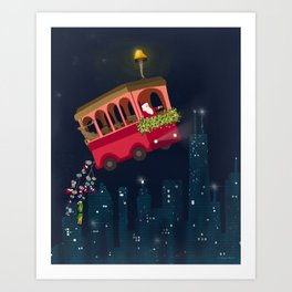 Holly Jolly Trolley Art Print
