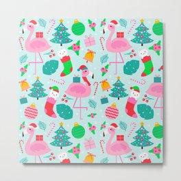 Flamingo Cat Christmas Pattern Metal Print
