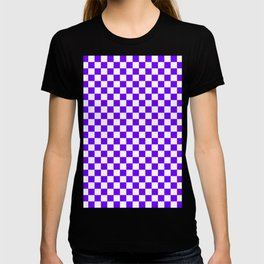White and Indigo Violet Checkerboard T-shirt