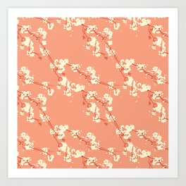 Cherry Blossoms in Coral Art Print