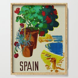 Retro Travel Poster - Spain Serving Tray