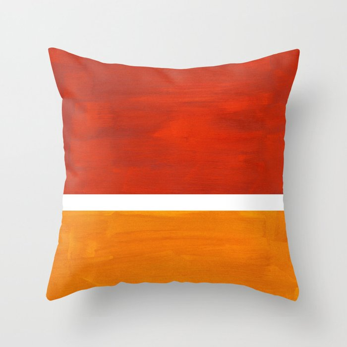 Burnt Orange Yellow Ochre Mid Century Modern Abstract Minimalist Rothko Color Field Squares Throw Pillow