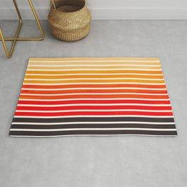 Watercolor Gouache Mid Century Modern Minimalist Colorful Orange Stripes Rug