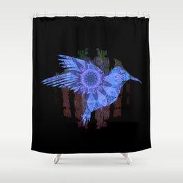 Ultra HDR Indigo Glow Hummingbird Print Shower Curtain
