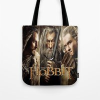 the hobbit Tote Bags featuring  Hobbit by ira gora