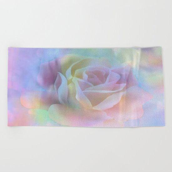 Pastel Watercolor Rose Beach Towel