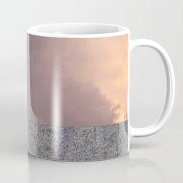 Sunset with girl walking on a wall followed by a balloon Coffee Mug