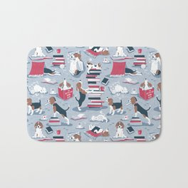 Life is better with books a hot drink and a friend // blue background brown white and blue beagles and cats and red cozy details Bath Mat