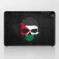 palestine iPad Cases featuring Flag of Palestine on a Chaotic Splatter Skull by Jeff Bartels