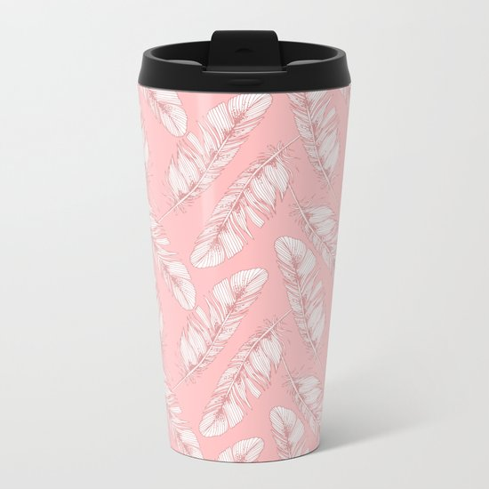 White feathers on a pink background Metal Travel Mug