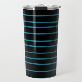 Pantone Barrier Reef 17-4530 Hand Drawn Horizontal Lines on Black Travel Mug