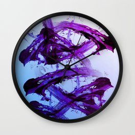 Soft Blue and Magenta Action Painting Wall Clock