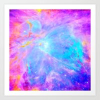 nebula Art Prints featuring Orion nebulA : Bright Pink & Aqua by 2sweet4words Designs