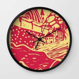 Landscape View Yellow-Red Wall Clock