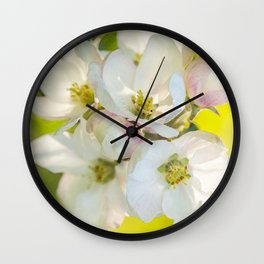 Close-up of Apple tree flowers on a vivid green background - Summer atmosphere Wall Clock