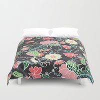 preppy Duvet Covers featuring Pastel preppy hand drawn garden flowers chalkboard by Girly Trend