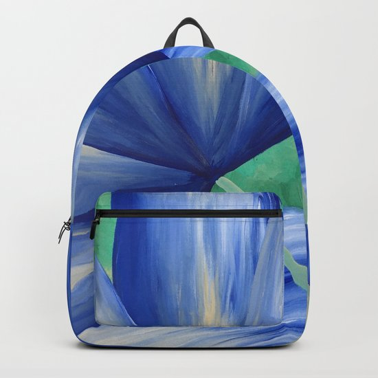 Large Blue Flowers Backpack