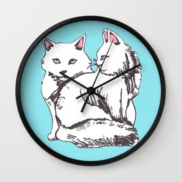 White Maine Coon Cats with Light Blue Wall Clock