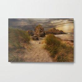 Sunset on Sea Stacks - Meyers Beach, Oregon  Edit Metal Print