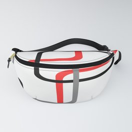 Geometric Rounded Rectangles Collage Red Fanny Pack