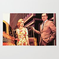 mad men Area & Throw Rugs featuring Betty & Don Draper from Mad Men - Painting Style by ElvisTR