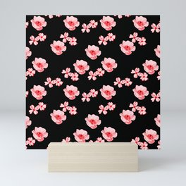 Flowers - Black and Red Mini Art Print