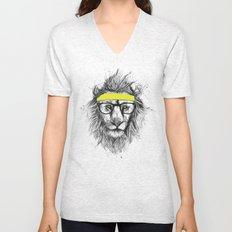 hipster lion (red) Unisex V-Neck