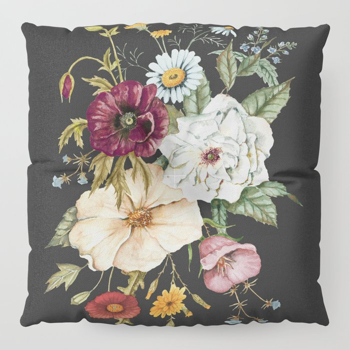 Colorful Wildflower Bouquet on Charcoal Black Floor Pillow