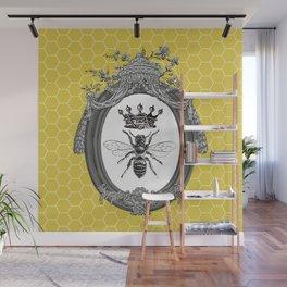 Queen Bee | Vintage Bee with Crown | Honeycomb | Wall Mural