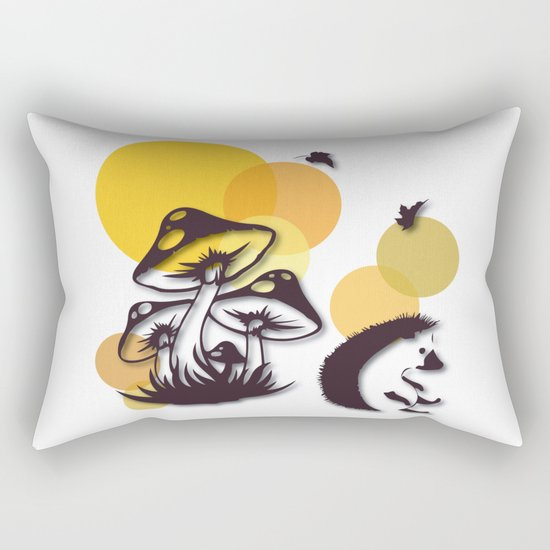 Mushroom And Hedgehog No. 3 Rectangular Pillow