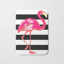 Flamingo, black and white stripes Bath Mat